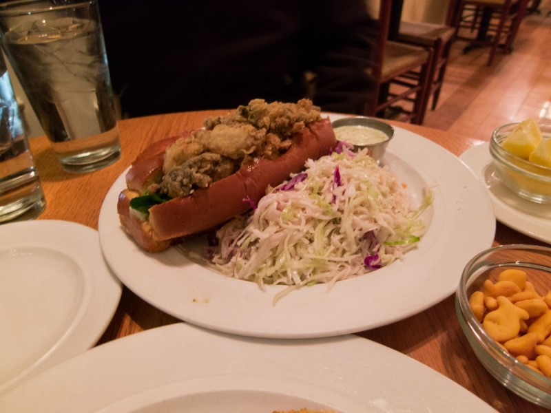 oyster po boy sandwich from hank's oyster bar